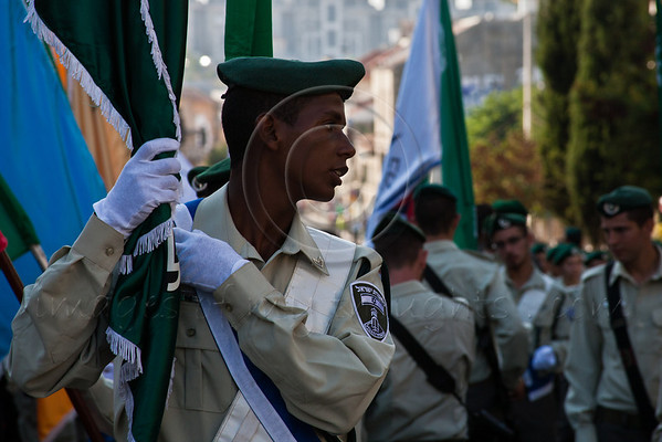 Border Policemen in ceremonious uniform take part in the annual Sukkoth Jerusalem Parade. <br /> Jerusalem, Israel. 4-October-2012.<br /> <br /> An estimated ten thousand people march in the annual Jerusalem Parade including participating delegations from around the world, Israeli industry, banks and military personnel.