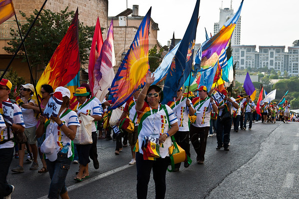 Members of the delegation from Bolivia to the International Christian Embassy Jerusalem annual Feast of Tabernacles pilgrimage march up Bezalel Street in the annual Jerusalem Sukkoth Parade. Jerusalem, Israel. 4-October-2012.<br /> <br /> An estimated ten thousand people march in the annual Jerusalem Parade including participating delegations from around the world, Israeli industry, banks and military personnel.