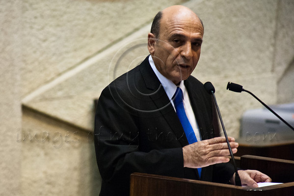 Leader of Opposition, MK Shaul Mofaz, addresses the Knesset and family and friends of late Rehavam 'Gandhi' Ze'evi, assassinated 11 years ago when shot in the head at the Jerusalem Hyatt Hotel. Jerusalem, Israel. 16-October-2012.<br /> <br /> Knesset Plenum holds special session honoring the memory of Rehavam 'Gandhi' Ze'evi, former military general and MK, assassinated 17 October 2001 by Hamdi Quran of the Popular Front for the Liberation of Palestine.