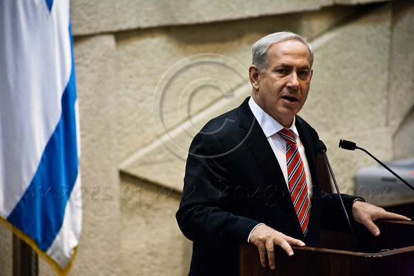 Prime Minister Benjamin Netanyahu addresses the Knesset and family and friends of late Rehavam 'Gandhi' Ze'evi, assassinated 11 years ago when shot in the head at the Jerusalem Hyatt Hotel. Jerusalem, Israel. 16-October-2012.<br /> <br /> Knesset Plenum holds special session honoring the memory of Rehavam 'Gandhi' Ze'evi, former military general and MK, assassinated 17 October 2001 by Hamdi Quran of the Popular Front for the Liberation of Palestine.