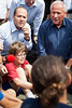 Home Front Defense Minister Avi Dichter and Mayor Nir Barkat converse with children in the school yard amidst crowded journalists following emergency evacuation in Turning Point 6 earthquake drill. Jerusalem, Israel. 21 October 2012.<br /> <br /> Avi Dicther, Minister of Home Front Defense, and Nir Barkat, Mayor of Jerusalem, personally monitor the Frenkel School evacuation in the Turning Point 6 nationwide earthquake drill.