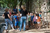 Kindergarten teachers read the names of pupils to verify attendance after evacuation from kindergarten structure in a nationwide earthquake drill. Jerusalem, Israel. 21-October-2012.<br /> <br /> A nationwide, week-long, earthquake drill, the largest ever in the country's history, begins and will include diversifies emergency scenarios including destruction, tsunami waves in the Mediterranean, 7,000 dead and over 170,00 displaced.