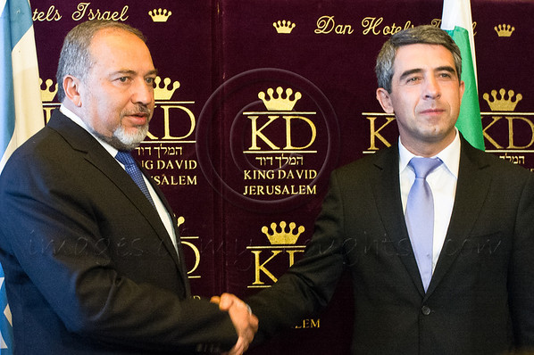 Bulgarian President Rosen Plevneliev (R) shakes hands with Israeli Foreign Minister, Avigdor Liberman (L), at a photo-op prior to a bilateral meeting of delegations. Jerusalem, Israel. 22 October 2012.<br /> <br /> Minister of Foreign Affairs, Avigdor Liberman, welcomes President of Bulgaria, Rosen Plevneliev, on an official visit to Israel, at the King David Hotel's Ambassadors' Garden Room.