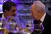 Israeli President, Shimon Peres (R) and Bulgarian President, Rosen Plevneliev (L), in conversation at the dinner table at the Presidential Residence. Jerusalem, Israel. 22 October 2012.<br /> <br /> President Shimon Peres hosts a state dinner in honor of Bulgarian President Rosen Plevneliev. The presidents deliver speeches to guests including senior political figures, diplomats and individuals from the economic, academic and cultural spheres.