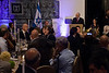President Shimon Peres delivers a speech in honor of Bulgarian President Rosen Plevneliev at a state dinner in honor of the Bulgarian President.  Jerusalem, Israel. 22 October 2012.<br /> <br /> President Shimon Peres hosts a state dinner in honor of Bulgarian President Rosen Plevneliev. The presidents deliver speeches to guests including senior political figures, diplomats and individuals from the economic, academic and cultural spheres.