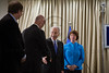 President Shimon Peres shakes hands and welcomes a European Union delegation headed by Catherine Ashton, High Representative of the European Union, at the President's Residence. Jerusalem, Israel. 24 October 2012. <br /> <br /> The President of the State of Israel, Shimon Peres, meets with Baroness Catherine Ashton, the High Representative for Foreign Affairs and Security Policy of the European Union at the President's Residence.