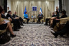 President Shimon Peres and Catherine Ashton, High Representative of the European Union, make statements at the the onset of a meeting for discussions on regional issues. Jerusalem, Israel. 24 October 2012. <br /> <br /> The President of the State of Israel, Shimon Peres, meets with Baroness Catherine Ashton, the High Representative for Foreign Affairs and Security Policy of the European Union at the President's Residence.