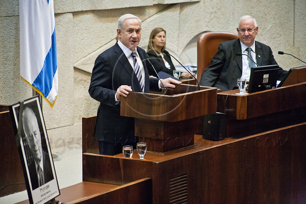 Prime Minister Benjamin Netanyahu addresses the Knesset and family and friends of late Yitzhak Rabin, assassinated 17 years ago. Jerusalem, Israel. 28 October 2012.<br /> <br /> Knesset Plenum holds special session honoring the memory of Yitzhak Rabin‎, former Prime Minister, Defense Minister, Chief of Staff and Nobel Peace Prize laureate, assassinated 4 November 1995 at a peace rally in Tel-Aviv.