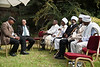 Kessim, Jewish Ethiopian religious leaders, lounge in the garden of the President's Residence prior to a ceremony opening the Sigd festivities. Jerusalem, Israel. 31-Oct-2012.<br /> <br /> President Peres opens the Sigd festivities, hosting children and dignitaries from the Jewish Ethiopian community, Beta-Israel, at his residence. The Sigd symbolizes Beta-Israel's yearning for Jerusalem while living in seclusion for over 1,000 years.