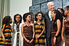 Israeli President Shimon Peres ascends the stage following  a dance performed by young Ethiopian girls at a ceremony opening the Sigd festivities at the President's Residence. Jerusalem, Israel. 31-Oct-2012.<br /> <br /> President Peres opens the Sigd festivities, hosting children and dignitaries from the Jewish Ethiopian community, Beta-Israel, at his residence. The Sigd symbolizes Beta-Israel's yearning for Jerusalem while living in seclusion for over 1,000 years.