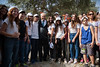 "Israeli President Shimon Peres poses for photos with agricultural school students, visiting the President's Residence for the olive harvest. Jerusalem, Israel. 1-Nov-2012.<br /> <br /> Israeli President Shimon Peres opens the olive harvest festival in the garden of the President's Residence with a group of students from the agricultural school ""Kaduri"" in the Galilee and from the ""Naale"" Program."