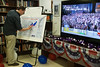 Employees of the American Center in Jerusalem update their own U.S. map with real-time election results based on CNN projections. Jerusalem, Israel. 7-Nov-2012.<br /> <br /> Americans unite to celebrate democracy and monitor real-time election results at the US Embassy Tel-Aviv's American Center in Jerusalem as votes, still being counted, project a landslide victory for Pres. Barack Obama.