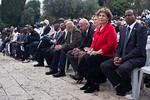 Knesset Member Shlomo Neguse Molla (right), and Ms.Sofa Landver, Minister of Immigrant Absorption (2nd from right), take part in the Sigd Festival. Jerusalem, Israel. 14-Nov-2012.  The Jewi ...