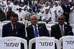 Helawe Yosef (C), Ethiopian Ambassador to Israel, takes part in the Sigd Festival. Jerusalem, Israel. 14-Nov-2012.  The Jewish Ethiopian community in Israel, Beta-Israel, celebrates the Sig ...
