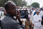 A man shoots video on a Samsung tablet of the thousands of Jewish Ethiopians taking part in the Sigd Festival. Jerusalem, Israel. 14-Nov-2012.  The Jewish Ethiopian community in Israel, Bet ...