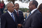 Helawe Yosef (L), Ethiopian Ambassador to Israel, and Knesset Member Shlomo Neguse Molla (R), take part in the Sigd Festival. Jerusalem, Israel. 14-Nov-2012.  The Jewish Ethiopian community ...