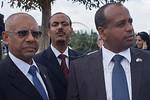 Helawe Yosef (L), Ethiopian Ambassador to Israel, and Knesset Member Shlomo Neguse Molla (R), take part in the Sigd Festival. Jerusalem, Israel. 14-Nov-2012.  The Jewish Ethiopian community ...
