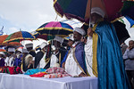 Kessim, religious leaders, in colorful traditional costumes, lead thousands in prayer as the Jewish Ethiopian community in Israel celebrates the Sigd Holiday. Jerusalem, Israel. 14-Nov-2012. ...