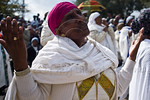 Jewish Ethiopian woman wave their hands and bow in prayers of thanksgiving to God for delivering them to Israel. Jerusalem, Israel. 14-Nov-2012.  The Jewish Ethiopian community in Israel, B ...