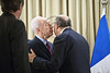 Israeli President Shimon Peres and French Foreign Minister Laurent Fabius exchange embraces and kisses, French style, at the opening of a joint meeting. Jerusalem, Israel. 18-Nov-2012.<br /> <br /> Israeli President Shimon Peres meets French Foreign Minister Laurent Fabius who is visiting the region for meetings with the leaders of Israel and the Palestinian Authority in light of warfare in Gaza.