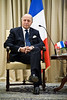 French Foreign Minister Laurent Fabius makes a statement to Israeli President Shimon Peres and for the press at the opening of a meeting at the President's Residence. Jerusalem, Israel. 18-Nov-2012.<br /> <br /> Israeli President Shimon Peres meets French Foreign Minister Laurent Fabius who is visiting the region for meetings with the leaders of Israel and the Palestinian Authority in light of warfare in Gaza.