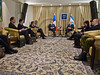 Israeli President Shimon Peres and French Foreign Minister Laurent Fabius make statements for the press at the opening of a meeting at the President's Residence. Jerusalem, Israel. 18-Nov-2012.<br /> <br /> Israeli President Shimon Peres meets French Foreign Minister Laurent Fabius who is visiting the region for meetings with the leaders of Israel and the Palestinian Authority in light of warfare in Gaza.
