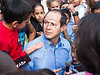 Jerusalem Mayor Nir Barkat visits children from the south of Israel as they take a break from warfare and air-raid sirens at the Jerusalem Theatre for Performing Arts for the day. Jerusalem, Israel. 18-Nov-2012.<br /> <br /> The Jerusalem Theatre for Performing Arts hosts 450 children from the south of Israel, under fire of Hammas rockets, for a break and change of atmosphere. Children are treated to street performances, lunch and a play.
