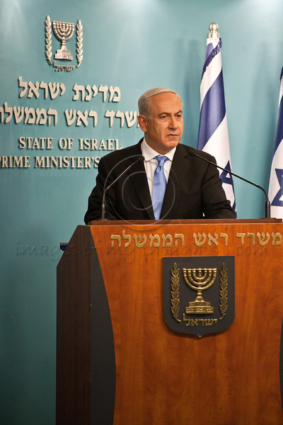 """Prime Minister Benjamin Netanyahu addresses the nation at a press conference announcing Pillar of Defense ceasefire agreement saying: """"Citizens of Israel, I am proud to be your Prime Minister"""". Jerusalem, Israel. 21-Nov-2012.<br /> <br /> Prime Minister Benjamin Netanyahu holds a press conference with Foreign Minister Avigdor Lieberman and Defense Minister Ehud Barak announcing ceasefire agreement with Hamas ending Operation Pillar of Defense."""