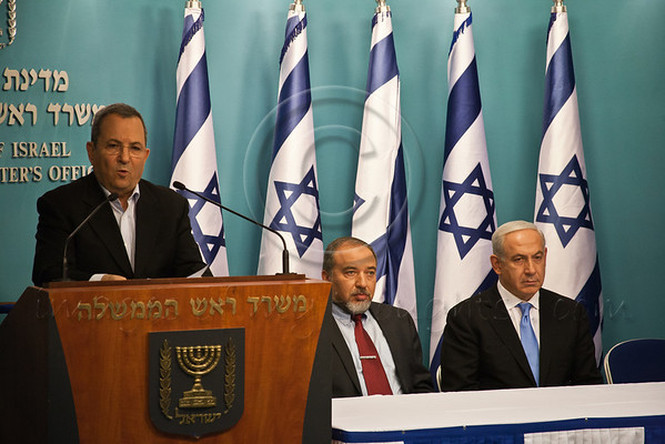 "Minister of Defense Ehud Barak addresses the nation at a press conference announcing Pillar of Defense ceasefire agreement and announces ""All IDF military objectives have been achieved"". Jerusalem, Israel. 21-Nov-2012.<br /> <br /> Prime Minister Benjamin Netanyahu holds a press conference with Foreign Minister Avigdor Lieberman and Defense Minister Ehud Barak announcing ceasefire agreement with Hamas ending Operation Pillar of Defense."