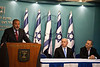 Minister of Foreign Affairs Avigdor Lieberman addresses the nation at a press conference announcing Pillar of Defense ceasefire agreement and commends Egypt's important and responsible role in all dealings related to the operation. Jerusalem, Israel. 21-Nov-2012.<br /> <br /> Prime Minister Benjamin Netanyahu holds a press conference with Foreign Minister Avigdor Lieberman and Defense Minister Ehud Barak announcing ceasefire agreement with Hamas ending Operation Pillar of Defense.