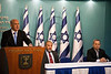 "Prime Minister Benjamin Netanyahu addresses the nation at a press conference announcing Pillar of Defense ceasefire agreement saying: ""Citizens of Israel, I am proud to be your Prime Minister"". Jerusalem, Israel. 21-Nov-2012.<br /> <br /> Prime Minister Benjamin Netanyahu holds a press conference with Foreign Minister Avigdor Lieberman and Defense Minister Ehud Barak announcing ceasefire agreement with Hamas ending Operation Pillar of Defense."