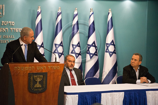 Prime Minister Benjamin Netanyahu addresses the nation at a press conference announcing Pillar of Defense ceasefire agreement and thanks his governmental partners for their support during the warfare. Jerusalem, Israel. 21-Nov-2012.<br /> <br /> Prime Minister Benjamin Netanyahu holds a press conference with Foreign Minister Avigdor Lieberman and Defense Minister Ehud Barak announcing ceasefire agreement with Hamas ending Operation Pillar of Defense.