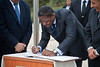 """President of Togo, Faure Essozimna Gnassingbe, signs the guestbook at the gravesite of Theodor Herzl, the """"Visionary of the State of Israel"""". Jerusalem, Israel. 27-Nov-2012.<br /> <br /> President of Togo, Faure Essozimna Gnassingbe, on an official four-day visit to Israel, lays a wreath at the gravesite of Theodor Herzl, the """"Visionary of the State of Israel""""."""