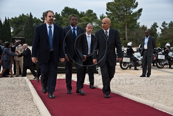 """President of Togo, Faure Essozimna Gnassingbe, arrives at Mount Herzl. Jerusalem, Israel. 27-Nov-2012.<br /> <br /> President of Togo, Faure Essozimna Gnassingbe, on an official four-day visit to Israel, lays a wreath at the gravesite of Theodor Herzl, the """"Visionary of the State of Israel""""."""