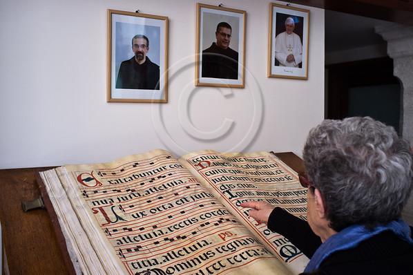 A huge book made of goatskin parchment in the Franciscan Terra Sancta compound library. Each two-page spread is produced from one goat. Jerusalem, Israel. 30-Nov-2012.<br /> <br /> Of the 20,000 Franciscan monks worldwide about 300 reside in Israel as well as some 1,000 nuns. Saint Francis Francesco of Assisi first arrived in the Holy Land in 1219 and they have been custodians of the holy sites ever since.