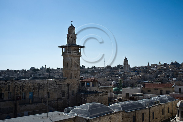 A view of Jerusalem's Old City from the rooftop of the Franciscan Flagellation Convent at the Second Station of the Via Dolorosa. Jerusalem, Israel. 30-Nov-2012.<br /> <br /> Of the 20,000 Franciscan monks worldwide about 300 reside in Israel as well as some 1,000 nuns. Saint Francis Francesco of Assisi first arrived in the Holy Land in 1219 and they have been custodians of the holy sites ever since.