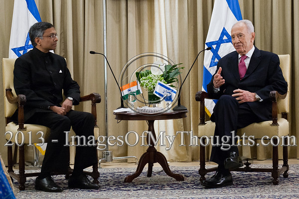 President of the State of Israel, Shimon Peres (R) and Jaideep Sarkar (L), newly appointed Indian Ambassador to Israel, hold an introductory meeting in which Peres welcomed the Ambassador and wished him success. Jerusalem, Israel. 4-Dec-2012.<br /> <br /> Jaideep Sarkar, newly appointed Indian Ambassador to Israel, presents his Letter of Credence to the President of the State of Israel, Shimon Peres, in a formal ceremony at the President's Residence.