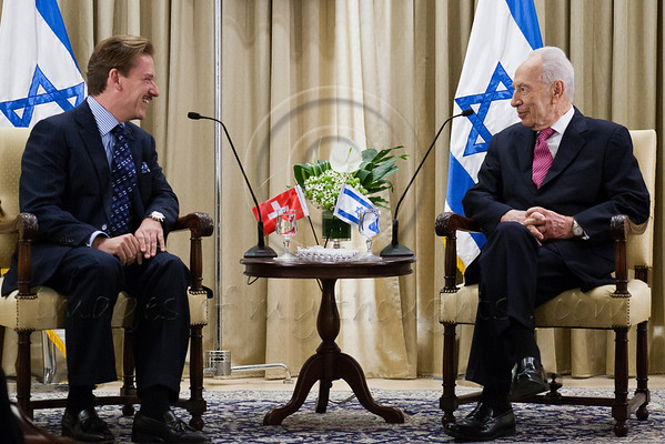 President of the State of Israel, Shimon Peres (R) and Andreas Bau (L), newly appointed Swiss Ambassador to Israel, hold an introductory meeting in which Peres welcomed the Ambassador and wished him success. Jerusalem, Israel. 4-Dec-2012.<br /> <br /> Andreas Bau, newly appointed Swiss Ambassador to Israel, presents his Letter of Credence to the President of the State of Israel, Shimon Peres, in a formal ceremony at the President's Residence.