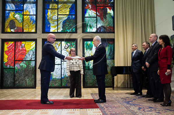 Pjer Simunovic, newly appointed Croatian Ambassador to Israel, presents his Letter of Credence to the President of the State of Israel, Shimon Peres, in a formal ceremony at the President's Residence. Jerusalem, Israel. 4-Dec-2012.