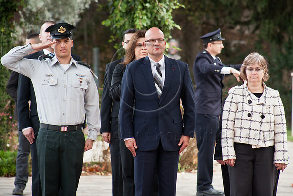 Pjer Simunovic, newly appointed Croatian Ambassador to Israel, is welcomed at the President's Residence with a military honor guard the Croatian National Anthem played by the Israel Police Band. Jerusalem, Israel. 4-Dec-2012.<br /> <br /> Pjer Simunovic, newly appointed Croatian Ambassador to Israel, presents his Letter of Credence to the President of the State of Israel, Shimon Peres, in a formal ceremony at the President's Residence.