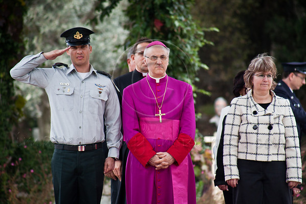 Archbishop Giuseppe Lazzarotto, newly appointed Vatican Ambassador to Israel, is welcomed at the President's Residence with a military honor guard. Jerusalem, Israel. 4-Dec-2012.<br /> <br /> Archbishop Giuseppe Lazzarotto, newly appointed Vatican Ambassador to Israel, presents his Letter of Credence to the President of the State of Israel, Shimon Peres, in a formal ceremony at the President's Residence. Jerusalem, Israel. 4-Dec-2012.