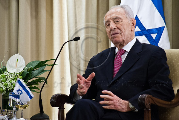President of the State of Israel, Shimon Peres, at an introductory meeting with Count John Cornet d'Elzius, newly appointed Belgian Ambassador to Israel. Jerusalem, Israel. 4-Dec-2012.<br /> <br /> Count John Cornet d'Elzius, newly appointed Belgian Ambassador to Israel, is welcomed at the President's Residence with a military honor guard and the Belgian National Anthem played by the Israel Police Band. Jerusalem, Israel. 4-Dec-2012.