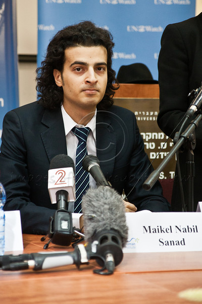 Maikel Nabil Sanad, Egyptian human rights dissident, Tahrir Square democracy blogger, and former 302-day political prisoner, meets members of the press at the Hebrew University while beginning a peace-building mission in Israel organized by UN Watch. Jerusalem, Israel. 23-Dec-2012.