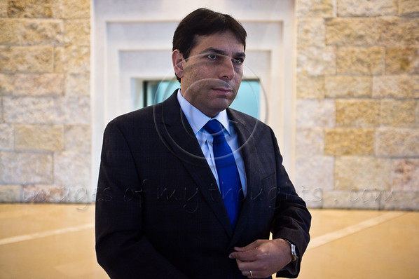 """MK Danny Danon (Likud-Betenu Party), prior to hearing of Zuabi's appeal at High Court of Justice: """"Zuabi's place is not in the Knesset. Her place is in jail"""". Jerusalem, Israel. 27-Dec-2012.<br /> <br /> Arab MK Ms. Hanin Zuabi (Balad party) appeals election disqualification by Knesset Central Elections Committee before High Court of Justice before an extended panel of nine judges headed by Supreme Court President Asher Grunis."""