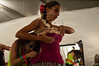 An Israeli Opera Carmen performer is fitted a corset, backstage, before full dress rehearsal. Massada, Israel. 6-June-2012.