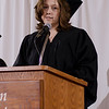 """Bethany Cook delivers the opening """"moment of reflection"""" during Chadron State College's commencement ceremony for bachelor degree recipients Dec. 14. Cook was awarded a Bachelor of Arts degree. (Photo by Tiffany Valandra)"""