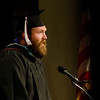 """Joseph Kupper delivers the closing """"moment of reflection"""" during Chadron State College's commencement ceremony for master's degree recipients Dec. 14. (Photo by Tiffany Valandra)"""