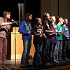 Chadron music teacher Chris Dickerson leads Chadron elementary and middle school students during the Martin Luther King Jr. Day celebration at Chadron State College on Jan. 21. (Photo by Justin Haag)