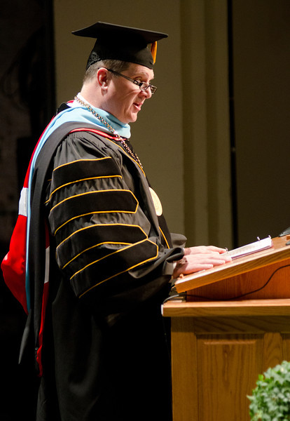 Dr. Randy Rhine, Chadron State College president, welcomes master's degree candidates during the graduate commencement May 4. (Photo by Tiffany Valandra/Chadron State College)