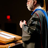Dr. Charles Butterfield, Agriculture & Rangeland Management professor, delivers a message to the Chadron State College graduates receiving master's degrees May 4. (Photo by Tiffany Valandra/Chadron State College)
